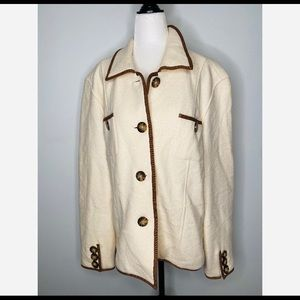 Orvis Women's White 100% Wool Button up coat